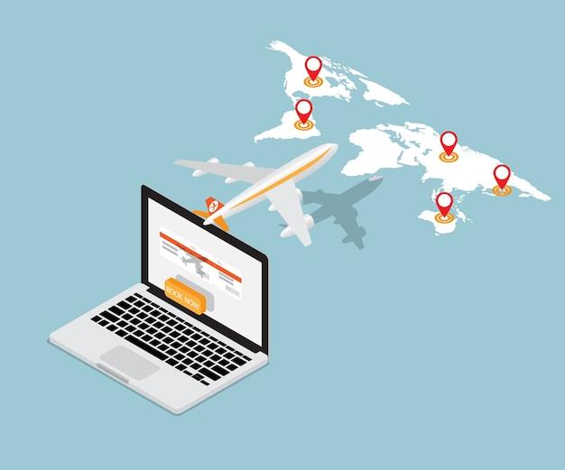 Билет на самолет онлайн-бронирование на ноутбуке изометрический