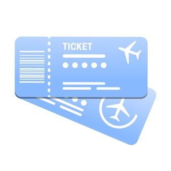 飛行機のチケットフラットベクトルイラスト