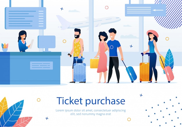 Airplane tickets purchase flat vector ad banner