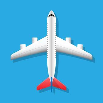 비행기 평면도 아래에 그림자가 있는 비행기 비행