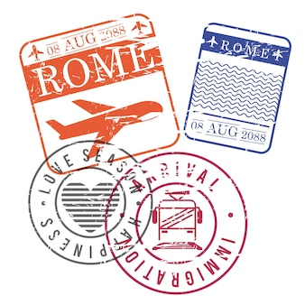 Airplane and train travel stamps