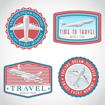 Airplane transportation vector label set, logo template