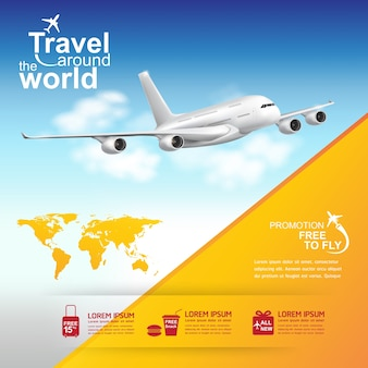 Airplane travel around the world banner