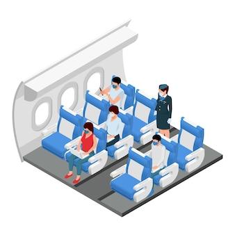 Изометрический вид салона секции пассажирского класса самолета с пассажирами на своих местах, стоящим бортпроводником