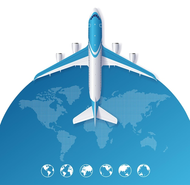 Airplane travel concept from the world map