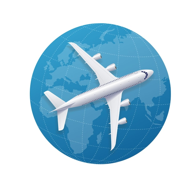 世界中の飛行機の旅のコンセプト