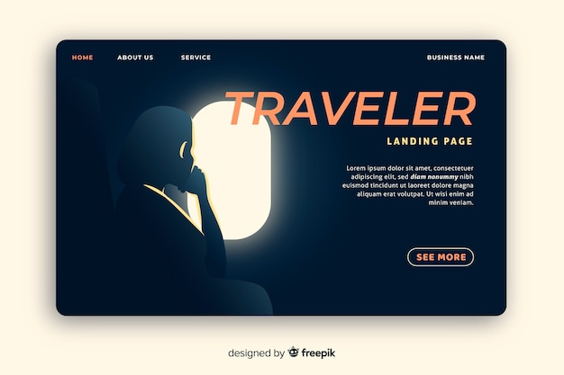 Airplane travel landing page template