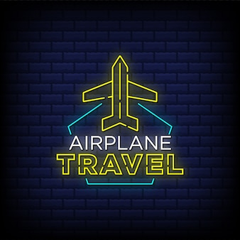 Airplane travel neon signs style text with aeroplane icon design