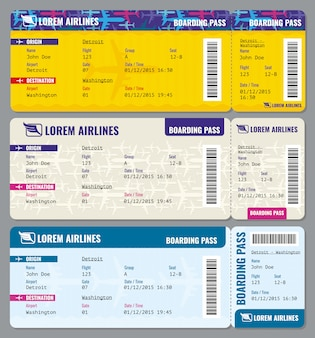 Airplane  traveling tickets template