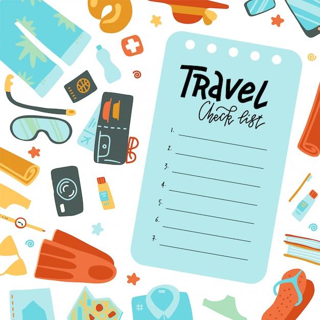 비행기 여행 필수. 여권 및 항공권, 스마트 폰 및 노트북, 신용 카드 및 휴가 용 장비를 갖춘 기내 반입 수하물 여행 체크리스트. 평면 그림