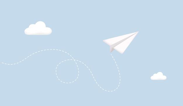 Самолет белый бумажный самолетик с тенью в небе самолет на синем фоне