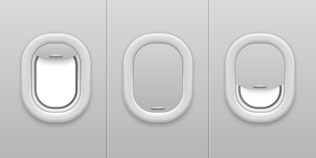 飛行機の窓。航空機のイルミネーター。オープンとクローズ、プラスチックとガラスの飛行機の窓、航空会社のベクトル飛行の概念のための現実的なモックアップ