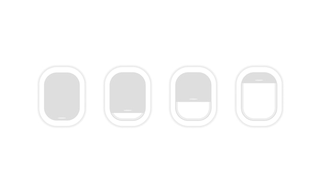 Airplane window icon set. travel, tourism, journey. plane. vector on isolated white background. eps 10.
