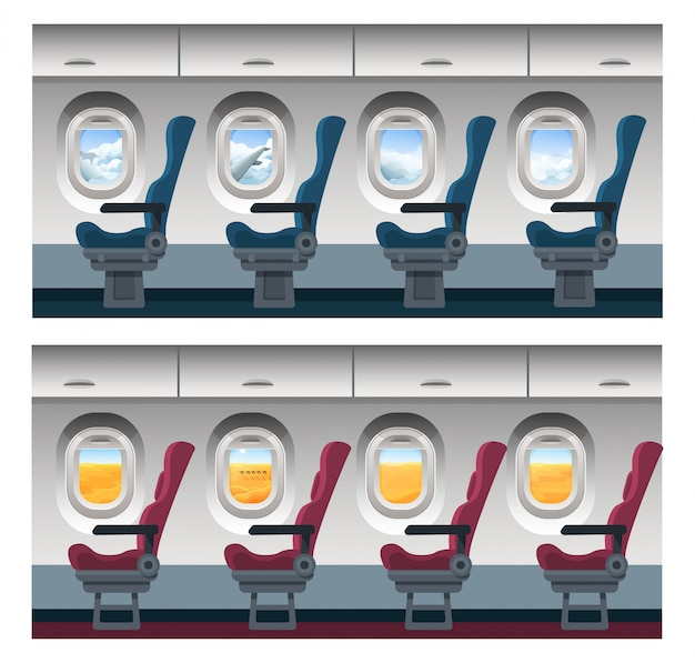Airplane window view  illustration, cartoon interior inside, trip viewing through porthole on cloudy sky landscape or desert scenery