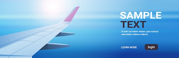 Airplane window view into open space sky with wing travel tourism air transportation concept horizontal copy space flat