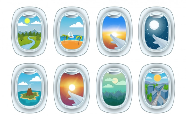 Airplane window view vector illustration set