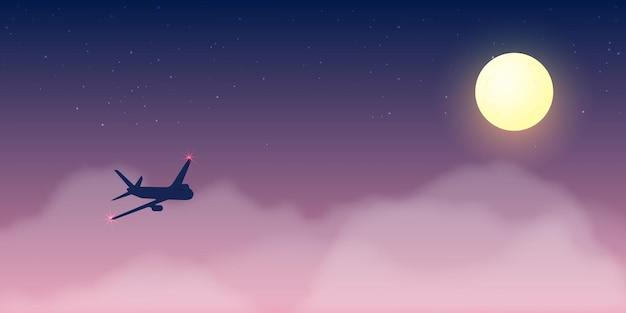 Вид из окна самолета с красивым ночным небом и звездами фоновой иллюстрации