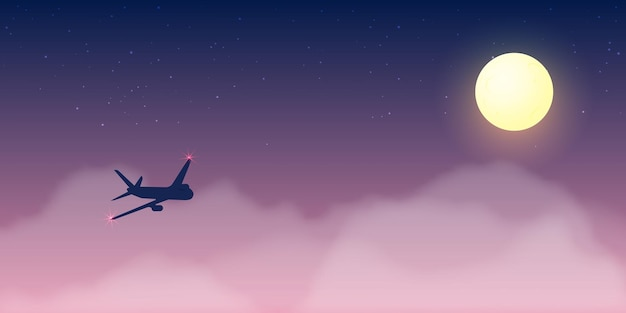 Airplane window view with beautiful night time sky and stars background illustration