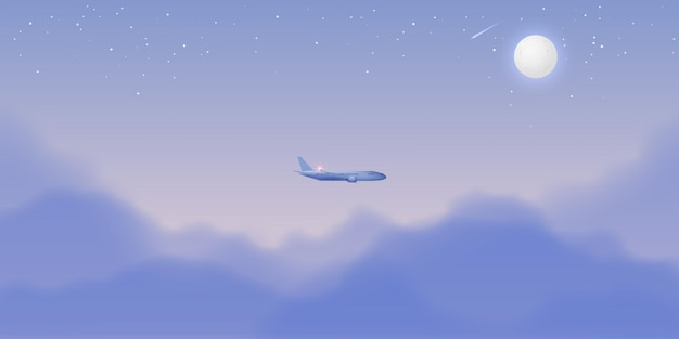 美しい夜空と飛行機の窓の眺め