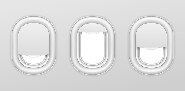 Airplane windows. aircraft interior with transparent portholes. realistic airplanes illuminators vector isolated set