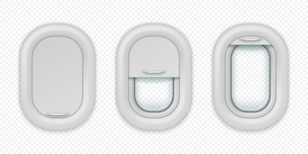 Airplane windows. realistic aircraft porthole in different positions, open closed and half closed