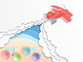 Airplane with beach background  paper cut style
