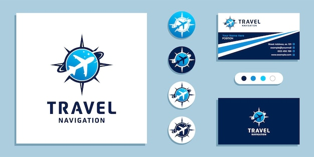 Airplane with compass sign. travel navigation logo and business card design template