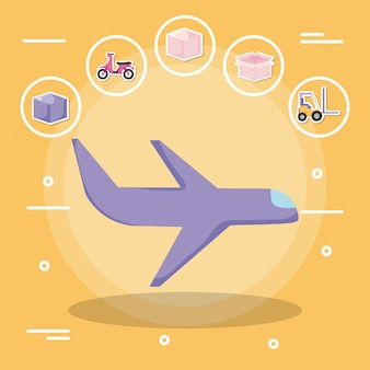 Airplane with delivery service with icon set