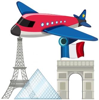 パリのランドマークがある飛行機