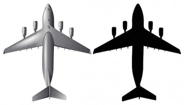 Airplane with silhouette on white background