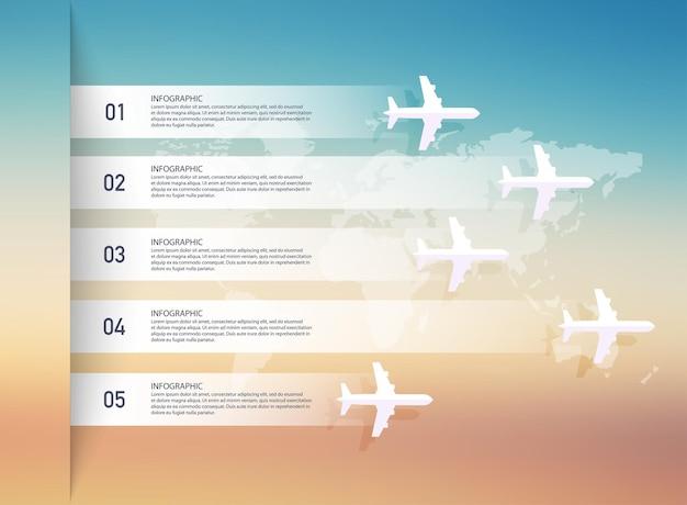 비행기와 세계지도 infographic 개념