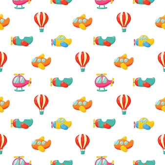 Airplanes and balloon seamless pattern