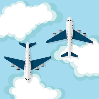 Airplanes flying on the clouds