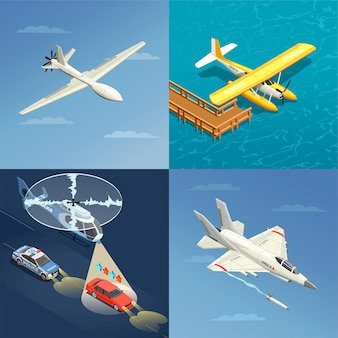 Airplanes helicopters for military and civil use illustration