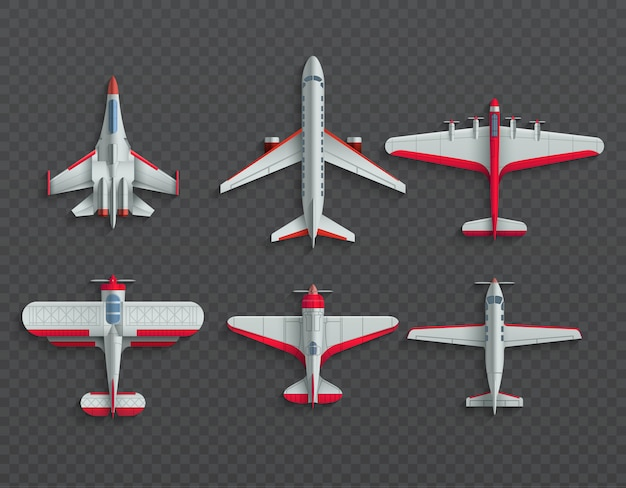 Airplanes and military aircraft top view. 3d airliner and fighter vector