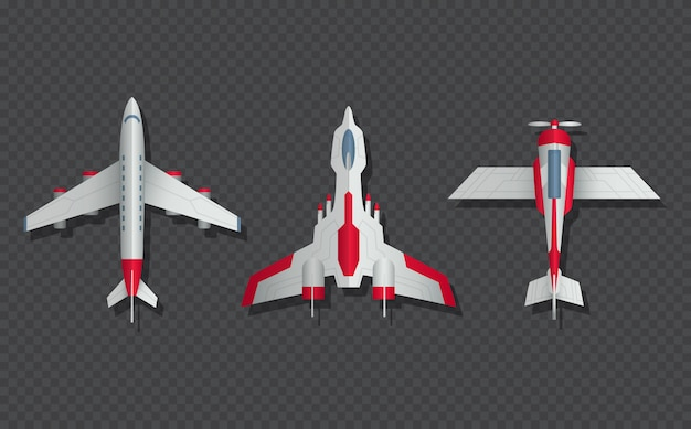 Airplanes and military aircraft top view.