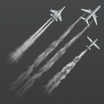 Airplanes and military fighters with condensation smoky trail isolated collection.