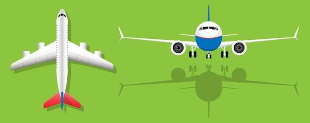 녹색 배경 여객기 전면 보기 및 평면도에 비행기
