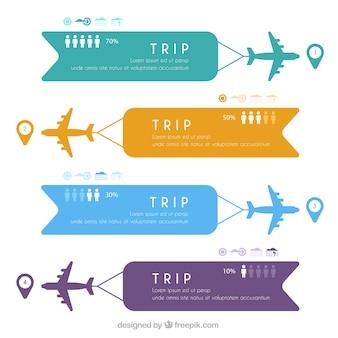 컬러 배너와 비행기