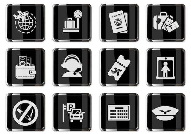 Airport and air carrier services pictograms in black chrome buttons. icons set for user interface design