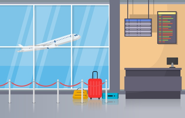 Airport airplane terminal gate arrival departure hall interior flat illustration