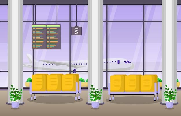 Airport airplane terminal gate waiting room hall interior flat illustration