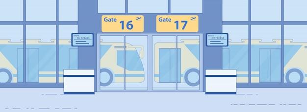 空港のエアサイドバス転送サービスフラットベクトル
