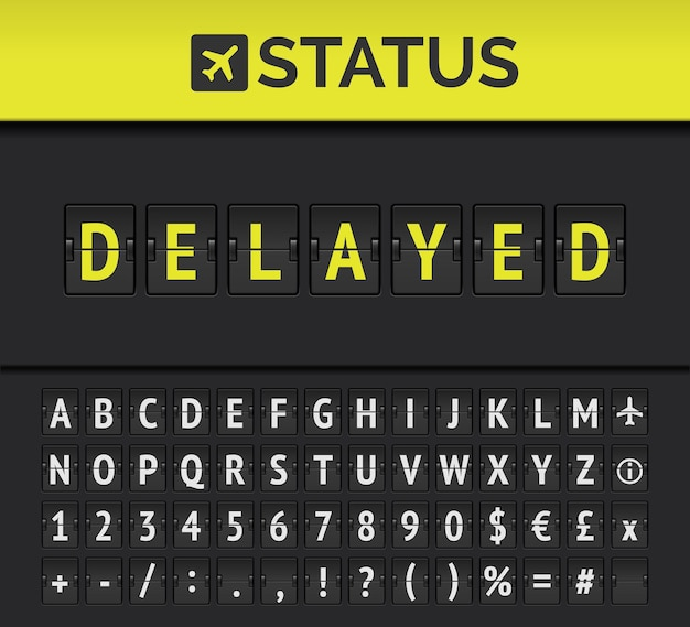 Airport analog flip board showing flight information of departure or arrival status: delayed with aircraft sign icon and alphabet