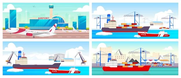 空港と港のフラットカラーセット。航空会社の滑走路、極地の駅、造船所の2d漫画の風景。国際商用便および貨物輸送事業。