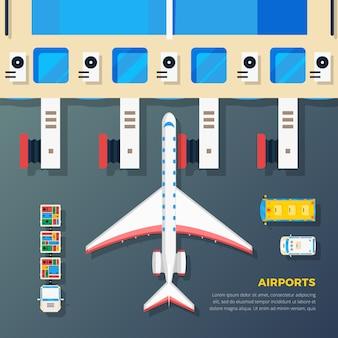 Airport apron plane at jet bridge