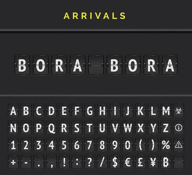 Airport arrivals flip font board alphabet