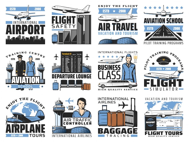 Airport and aviation, aircrew icons