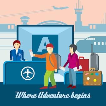 Фон аэропорта в плоский. посадка и паспортный контроль, билетная касса и иллюстрация туризма. векторный концепт путешествия