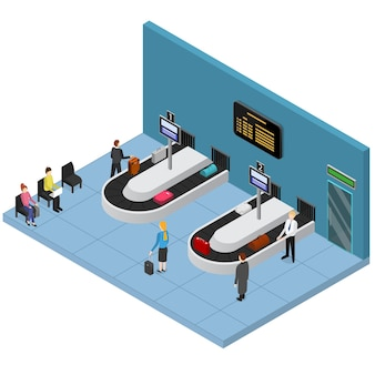 Airport baggage reclaim interior isometric view suitcase and bags on conveyor belt waiting people.